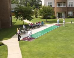 Residents playing shuffleboard