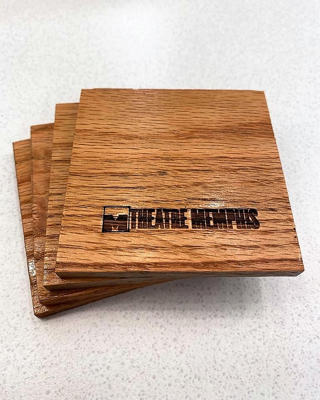 We also made coasters out of the old lobby wood......