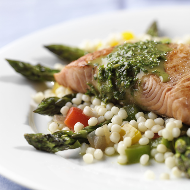 salmon with pearled couscous