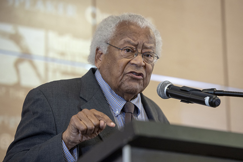 Civil rights icon Rev James Lawson gives remarks.