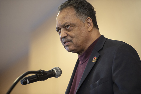 Civil rights icon Rev Jesse Jackson gives remarks.