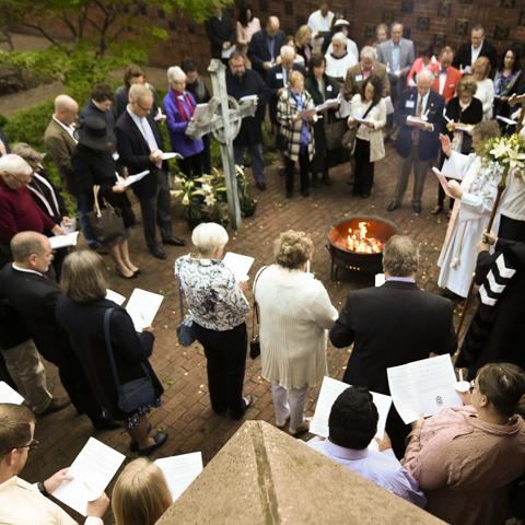 Easter Vigil in the memorial garden