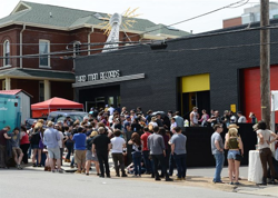 Music fans line up to buy exclusive records and to see Elvis Presley