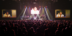 The Elvis Live in Concert featured the king on the screen with an all-star band.