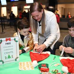 Kids created holiday-inspired crafts after the ceremony.