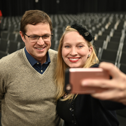 Director Eric R. Close took selfies with fans.