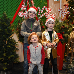 Kids lined up to meet Santa at Graceland.