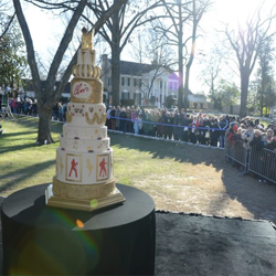 The birthday cake featured eight tiers: one tier for each decade of Elvis