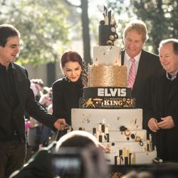 Joel Weinshanker, Priscilla Presley, Kevin Kane and Jack Soden cut Elvis