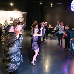 Elvis fans filled the dance floor at the bash.