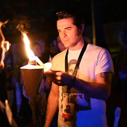 Many Elvis tribute artists, including Dean Z, take part in the vigil each year.