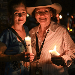 Elvis artist Betty Harper always takes part in the Candlelight Vigil.