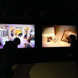 TVs are installed in the Graceland room at the Elvis at The O2 exhibition in London.