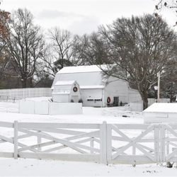 The stables at Graceland look beautiful in the snow.