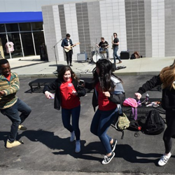 A group of students took a few moments from touring Elvis Presley