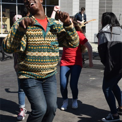 A group of students had a dance-off in the streets of Elvis Presley