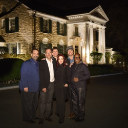 """Elvis Presley: The Searcher"" crew, Kary Antholis, Thom Zimny, Jerry Schilling, Priscilla Presley, John Jackson and David Porter at Graceland."
