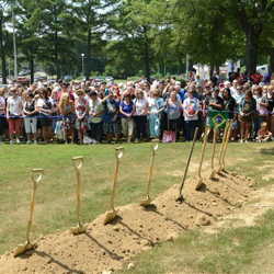 Thousands of Elvis fans gather for the Groundbreaking Ceremony of The Guest House at Graceland.
