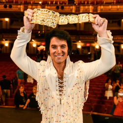 2014 Ultimate Elvis Tribute Artist Jay Dupuis celebrates after his big win on August 14, 2014.