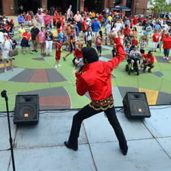 Elvis Week kicks off! Eli Williams entertains park goers during Elvis Night with the Memphis Redbirds.
