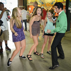 Dean Z teaches little Elvis fans some dance moves during Elvis Night with the Memphis Redbirds.