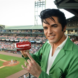 Dean Z points out what the night is all about during Elvis Night with the Memphis Redbirds.