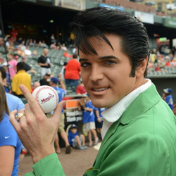 Dean Z waits to throw the first pitch during Elvis Night at the Memphis Redbirds.