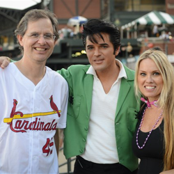Dean Z chats with a couple who got married at Elvis Presley
