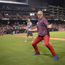 Elvis Week Blogger Jon Waterhouse wins the Elvis Dance Off at Elvis Nights with the Memphis Redbirds.