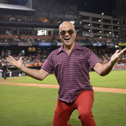 Elvis Week blogger takes home some Elvis shades during the dance off contest at Elvis Night with the Memphis Redbirds.