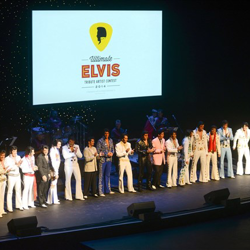Semifinalists take the stage during the Ultimate Elvis Tribute Artist Semifinal on August 12, 2014.