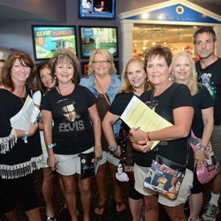 Elvis fans line up for the Graceland iPad Trivia Tour on August 12, 2014.