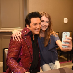 Dwight Icenhower, the 2016 Ultimate Elvis Tribute Artist, met with fans during the autograph session.