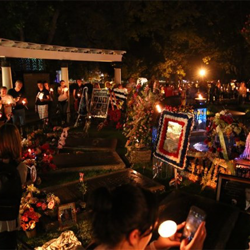 During the Candlelight Vigil, fans carry candles up to the Meditation Garden and spend a moment in quiet reflection.