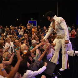 Ultimate Elvis Tribute Artist 2017 Gordon Hendricks greets fans after winning this year