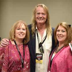 Mary Holladay Pederson and Ginger Holladay, who sang back up for Elvis, hang out with Ernst Jorgensen backstage at Elvis Week.