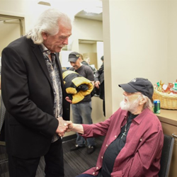 Donnie Sumner and Ronnie Tutt hung out backstage after the Elvis Live in Concert event.