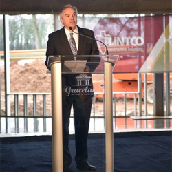The Guest House at Graceland General Manager Keith Hess spoke at the Topping Out Ceremony about what fans can expect at the hotel.