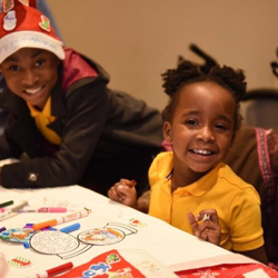 After the Lighting Ceremony, kids made ornaments and decorated Santa hats.