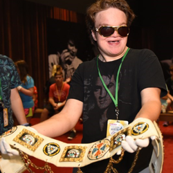 Alex is a big Elvis fan and loved getting the chance to hold an Elvis belt.