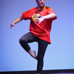 Tabitha practices her dance for the performance.