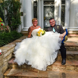 Mr. and Mrs. McChesney of New York were married at Graceland's Chapel in the Woods on June 17, 2017.