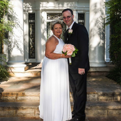 Angie Dunegan and Brian Gibbs from Memphis, Tennessee, were married at the Chapel in the Woods on Aug. 1, 2015.