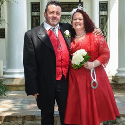 Lesley Davis and Brian Morris from West Midlands, UK were married on August 27, 2015.