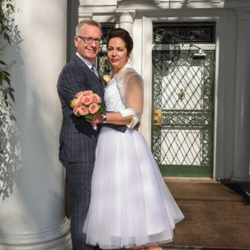 Catherine Lynch and Mark Franks from North Amptonshire, United Kingdom were married at Graceland's Chapel in the Woods on April 2, 2016.