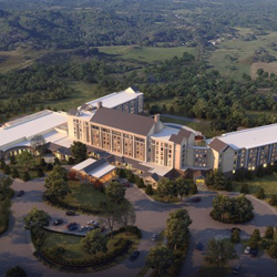 Aerial rendering of the future Guest House at Graceland - opening 2015.
