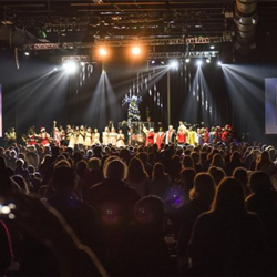 All of the musicians and performers gathered on stage for the finale at the Christmas with Elvis concert.