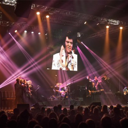 "The Elvis Live in Concert event ended with the classic line, ""Elvis has left the building."""