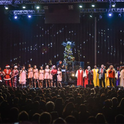 All of the performers, dancers and musicians returned to the stage for the finale at the Christmas with Elvis concert.