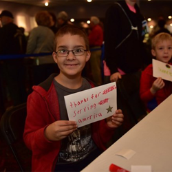 Students created thank-you cards for the troops.